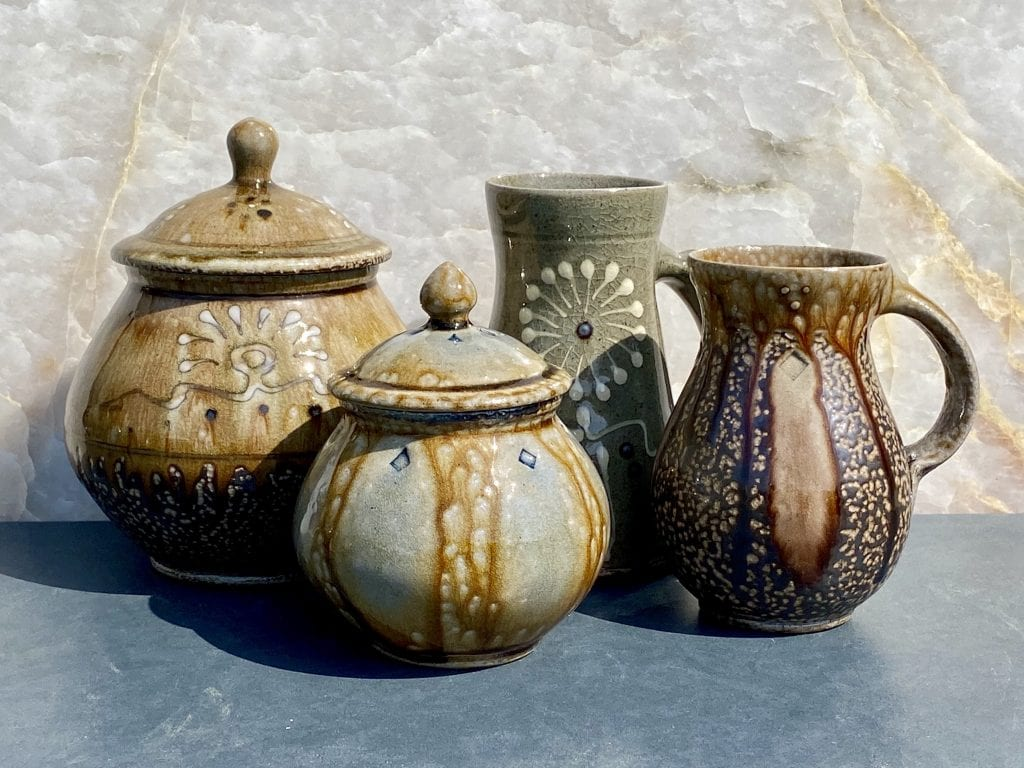 Grouping of Mark Hewitt Pottery, two sweet jars, a stein and a mug